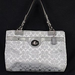Coach Gray Signature Jacquard Tote/Shoulder Bag